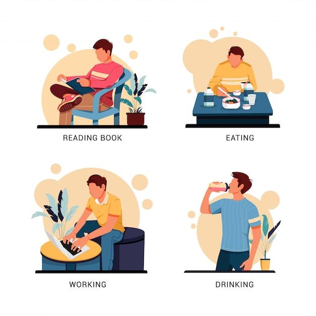 Illustratie set karakter van man activiteit, platte ontwerpconcept Premium Vector