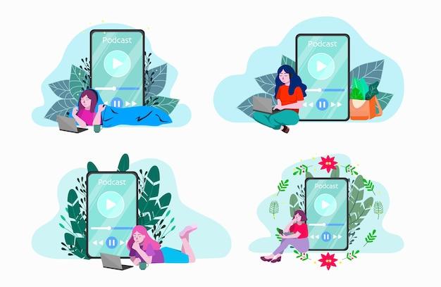 Illustratie set mensen luisteren naar podcast. concept van moderne mediacommunicatie, podcasting. mensen luisteren naar online streamset. nieuwe radio-inhoud Premium Vector