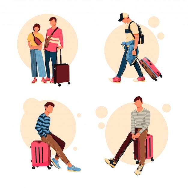 Illustratie set toeristische karakter met zijn koffer activiteit, platte ontwerpconcept Premium Vector