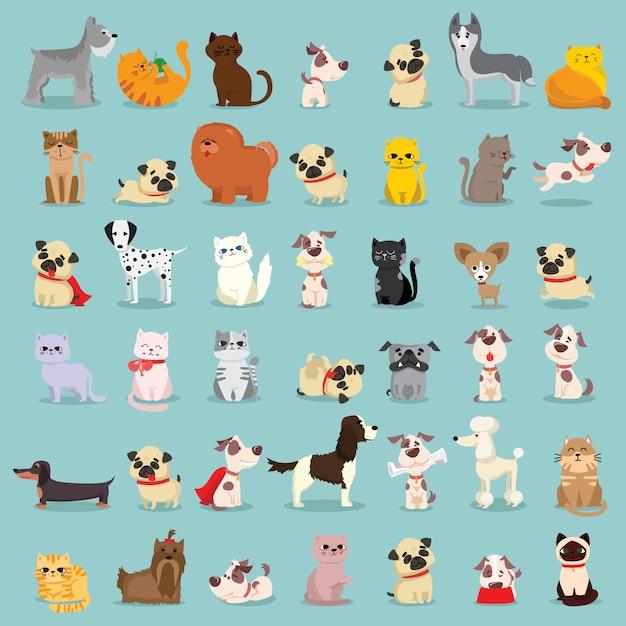 Illustratie set van leuke en grappige huisdier stripfiguren. verschillende rassen van honden en katten. Premium Vector