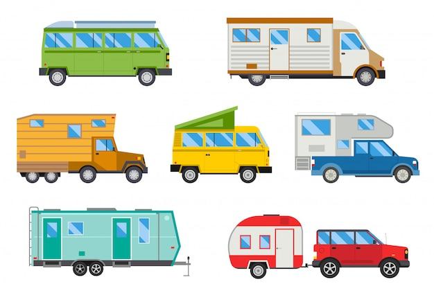 Illustratie set van verschillende kampeerders reizen auto vlak transport. Premium Vector