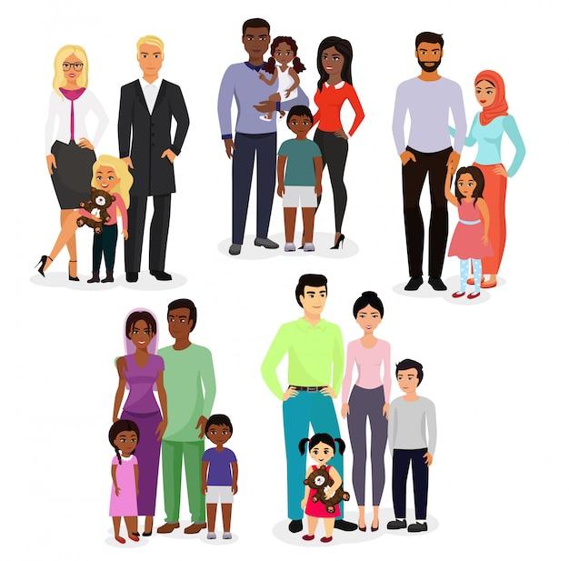 Illustratie set van verschillende onderdanen paren en gezinnen. mensen van verschillende rassen, nationaliteiten wit, zwart en aziatisch, leeftijden, met baby, jongen, meisje gelukkig en smiley op witte achtergrond. Premium Vector