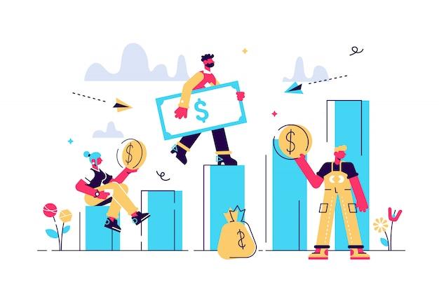 Illustratie, stijl, zakenman de trap af en geld te houden Premium Vector
