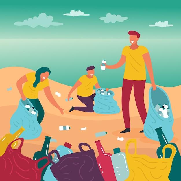 Illustratie thema mensen schoonmaken strand Gratis Vector