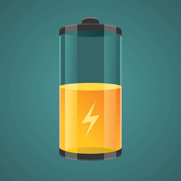 Illustratie transparant opgeladen batterijen. Premium Vector