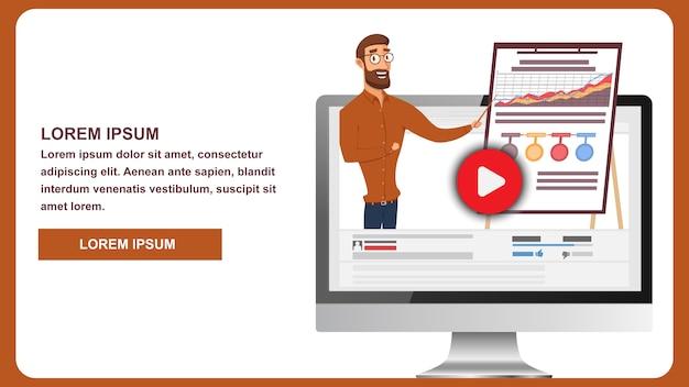 Illustratie uitzending online business webinar Premium Vector