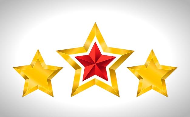 Illustratie van 3 gouden sterren kerstmis nieuwjaar vakantie 3d kerstmis Premium Vector