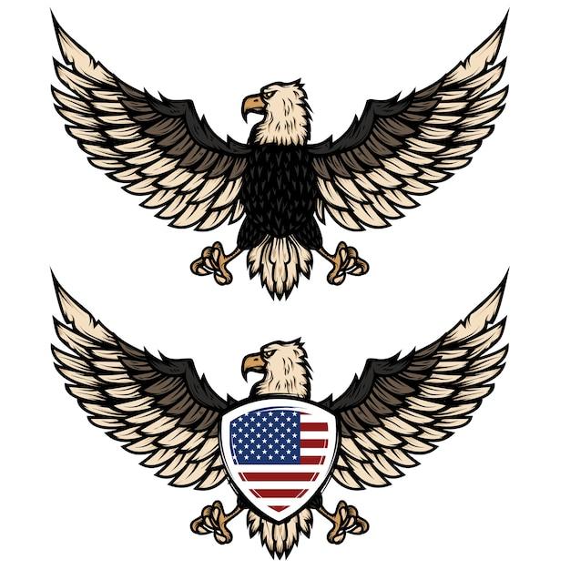 Illustratie van adelaar met amerikaanse vlag. element voor poster, flyer, embleem, teken. illustratie. Premium Vector