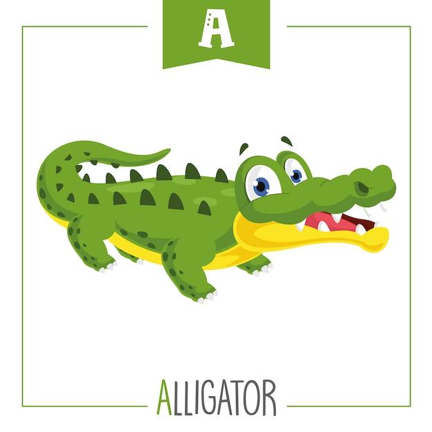Illustratie van alfabet letter a en alligator Premium Vector
