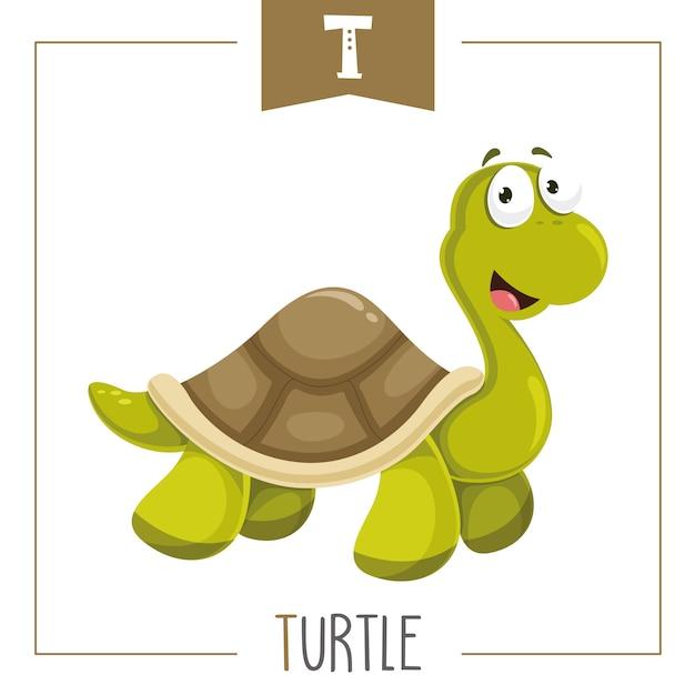 Illustratie van alfabet letter t en turtle Premium Vector