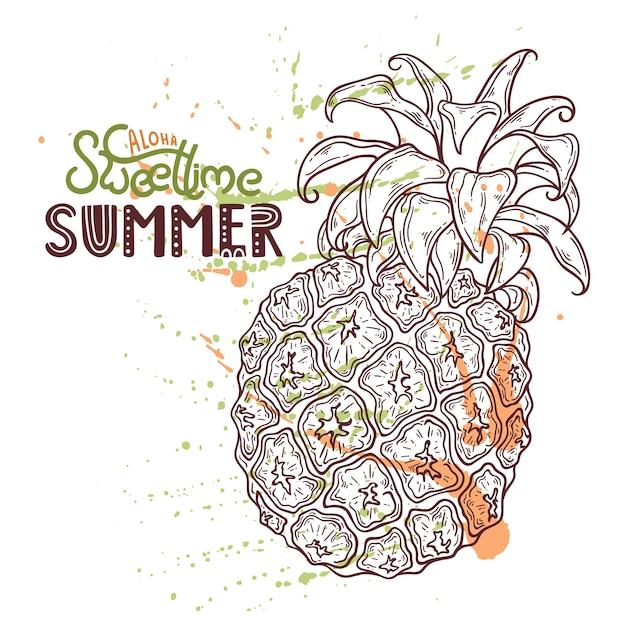 Illustratie van ananas. belettering: aloha sweet time zomer. Premium Vector