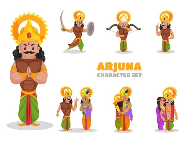 Illustratie van arjuna-tekenset Premium Vector