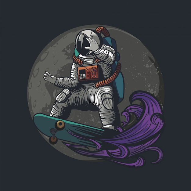 Illustratie van astronaut, kosmonaut die skateboard en sport op de ruimte met astronautenkostuum betaalt Premium Vector