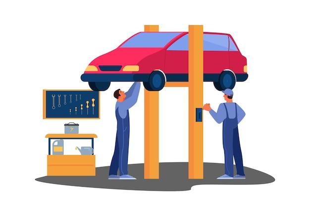Illustratie van auto werd gerepareerd in autoservice. monteur in uniform controleert een voertuig en repareert het. autoservicemedewerker controleer de accu Premium Vector