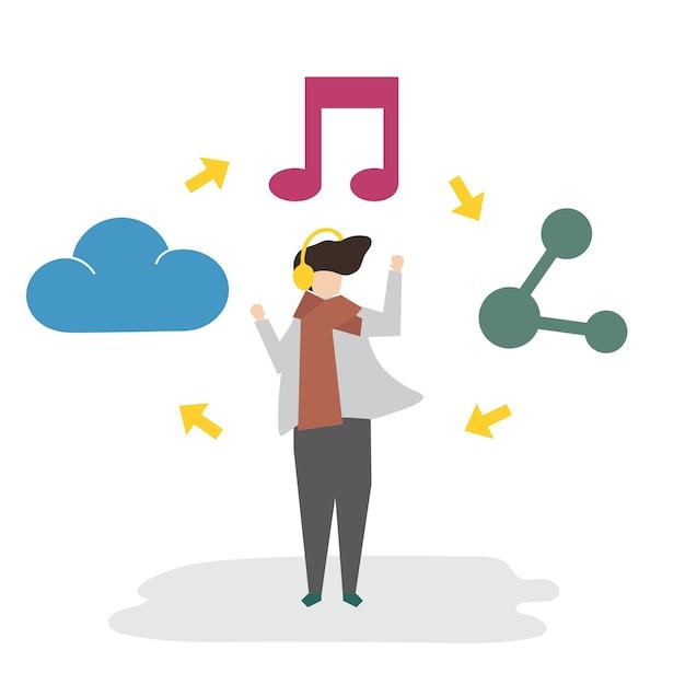 Illustratie van avatar sociaal netwerkconcept Gratis Vector
