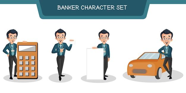 Illustratie van bankier character set Premium Vector