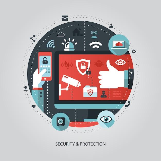 Illustratie van bedrijfsillustratie met beveiligingssamenstelling Premium Vector