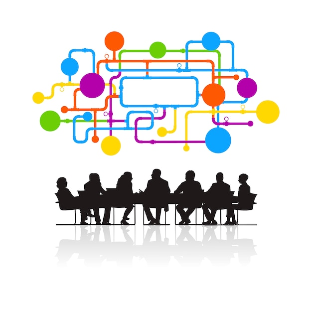 Illustratie van bedrijfsmensen in de vergadering Gratis Vector