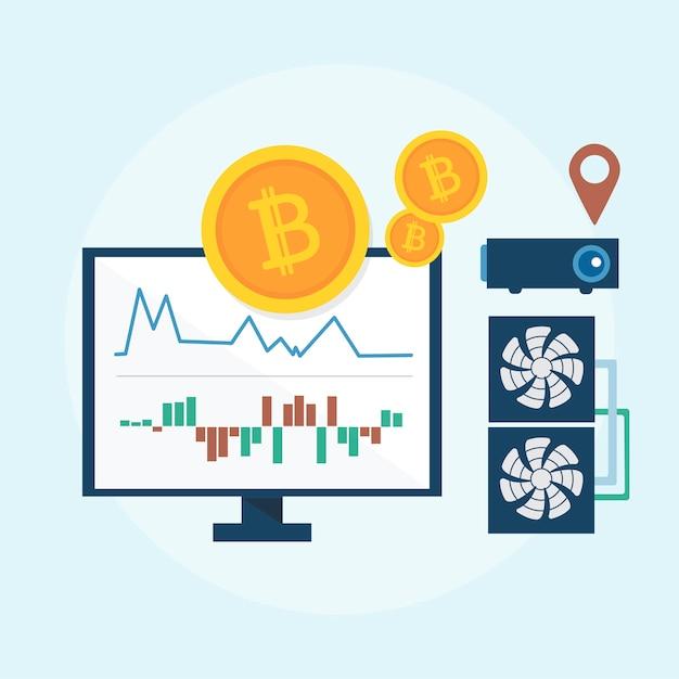 Illustratie van bitcoin concept Gratis Vector
