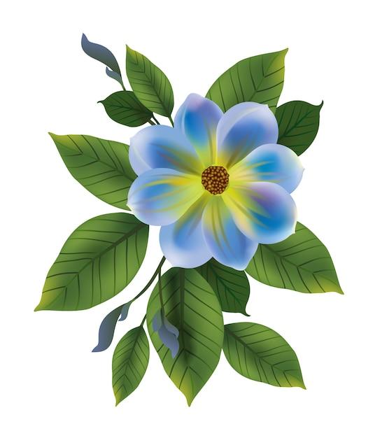 Illustratie van blauwe bloem met bladeren. vergeet me niet, knop, takje. bloem concept. Gratis Vector