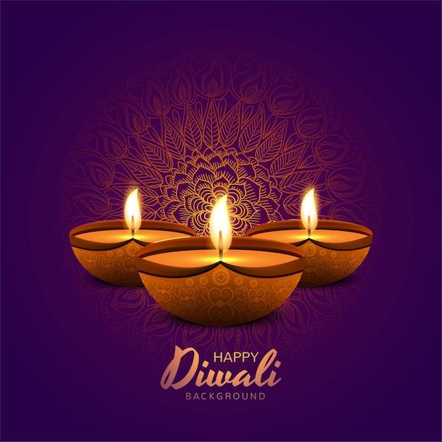 Illustratie van brandende diya op gelukkige diwali-vakantieachtergrond Gratis Vector