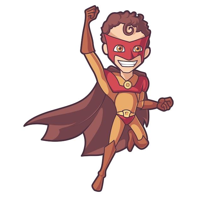 Illustratie van cartoon superman in vliegende positie. Premium Vector