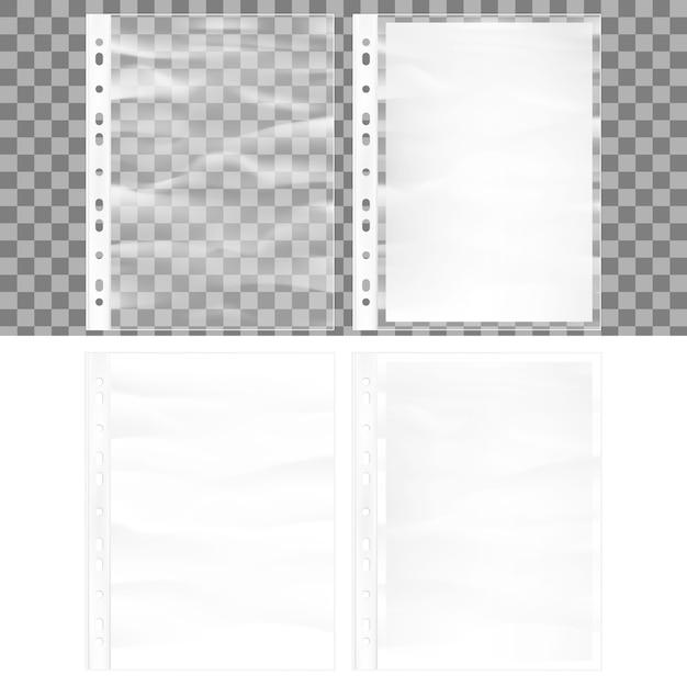 Illustratie van cellofaan zakformaat zakmodel. documentbeschermer en blanco vel wit a4-papier in doorzichtige plastic hoes. Premium Vector