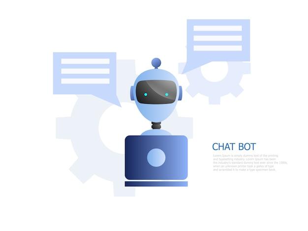 Illustratie van chat bot concept, robot gebruik laptop om te chatten en te werken Premium Vector