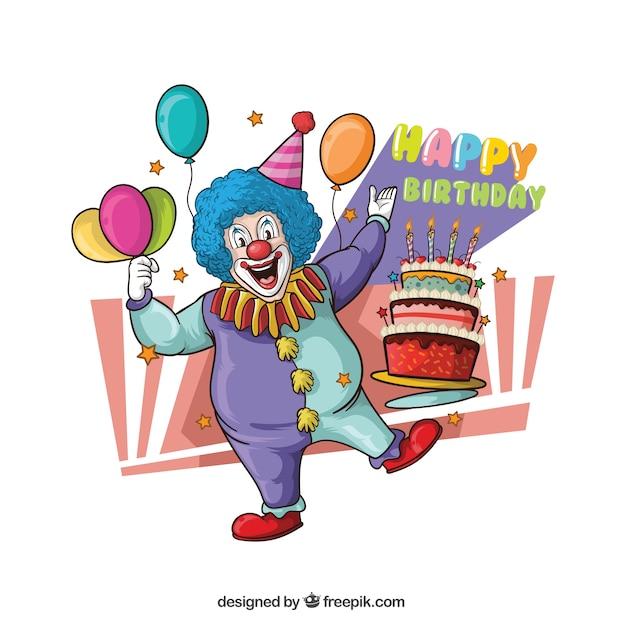 Illustratie van clown met cake Gratis Vector