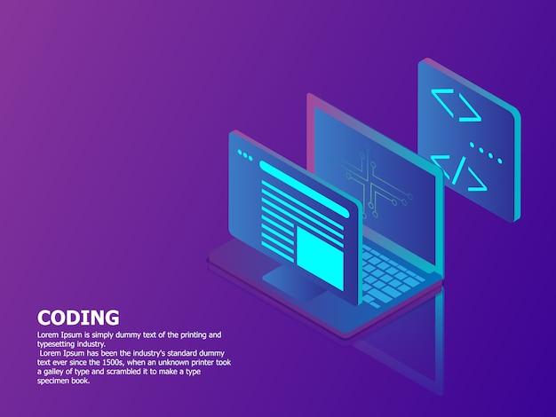 Illustratie van codage concept met laptop vector isometrische technische achtergrond Premium Vector