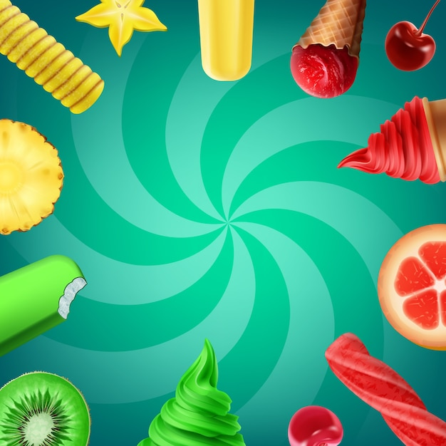 Illustratie van collectie smaken ijs met fruit en verschillende soorten ijs Gratis Vector