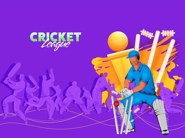 Illustratie van cricketspelers in actie poseren met wickets en gouden trofee cup op paarse achtergrond. Premium Vector