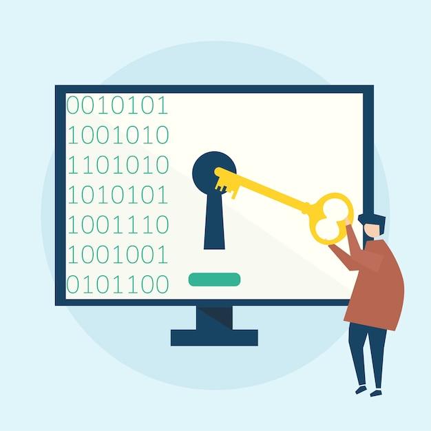 Illustratie van cybersecurityconcept Gratis Vector