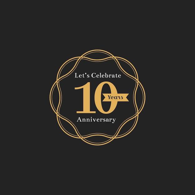 Illustratie van de 10de banner van de verjaardagszegel Gratis Vector