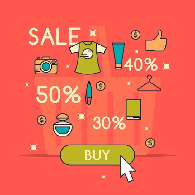 Illustratie van de beste verkoop in cartoon-stijl met t-shirt. room. parfum hand en verschillende producten. Premium Vector