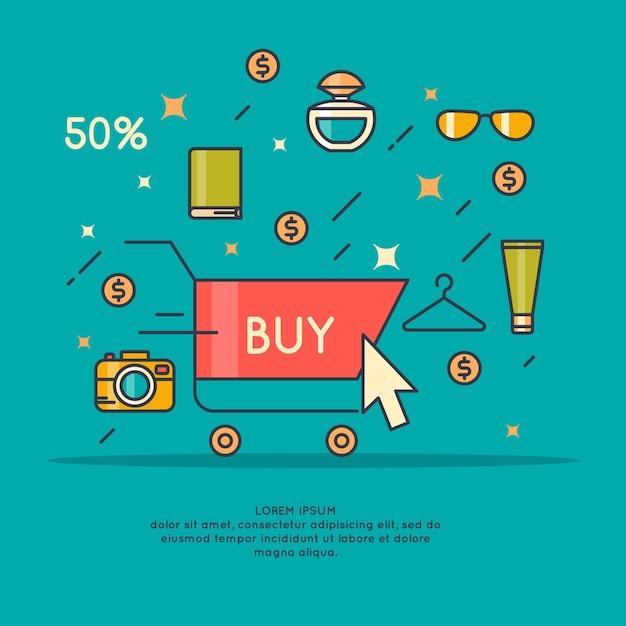 Illustratie van de beste verkoop in cartoon-stijl met telefoon, winkelwagentje, hand en verschillende producten. Premium Vector