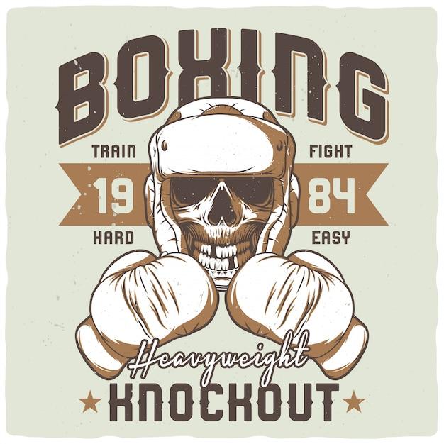 Illustratie van de dode bokser. Premium Vector