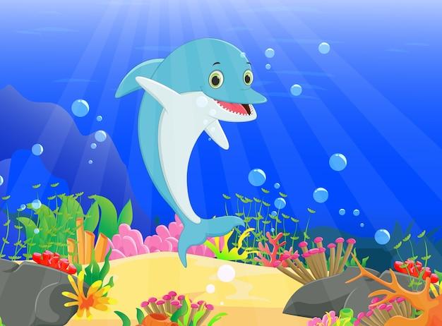 Illustratie van de dolfijn met een prachtige onderwaterwereld Premium Vector