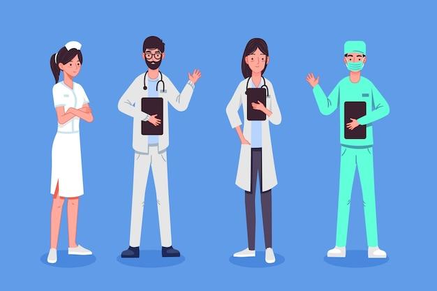 Illustratie van de groep van medische mensen Gratis Vector