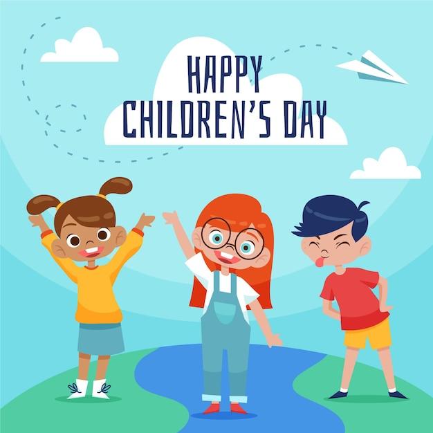 Illustratie van de hand getrokken dag van wereldkinderen Premium Vector