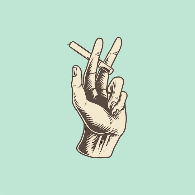 Illustratie van de hand met sigaret pictogram Gratis Vector