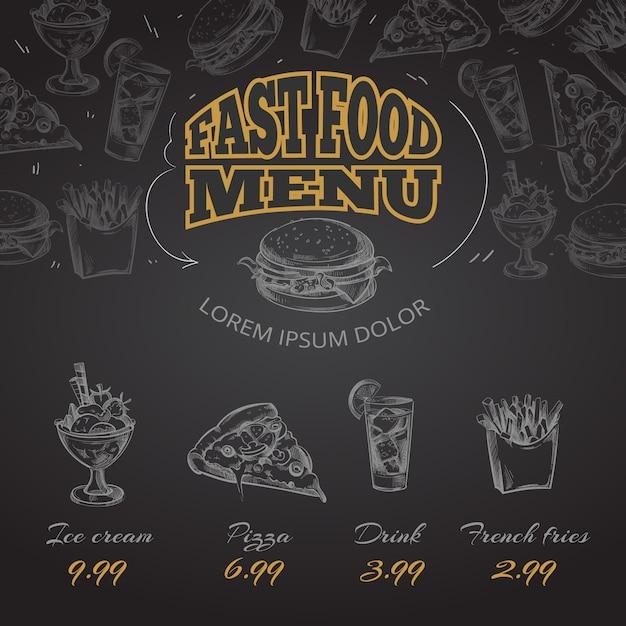 Illustratie van de het menu in hand getrokken stijl van het bord snelle voedsel Premium Vector
