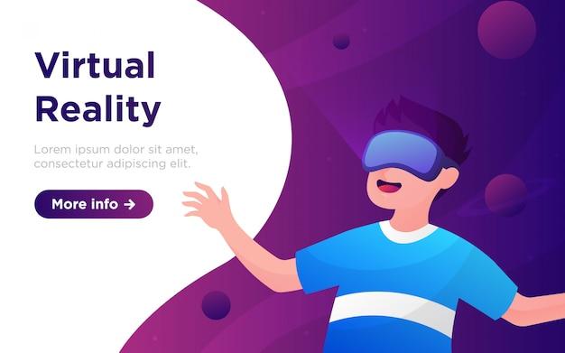 Illustratie van de illustratie van de cartoon de virtuele realiteit Premium Vector