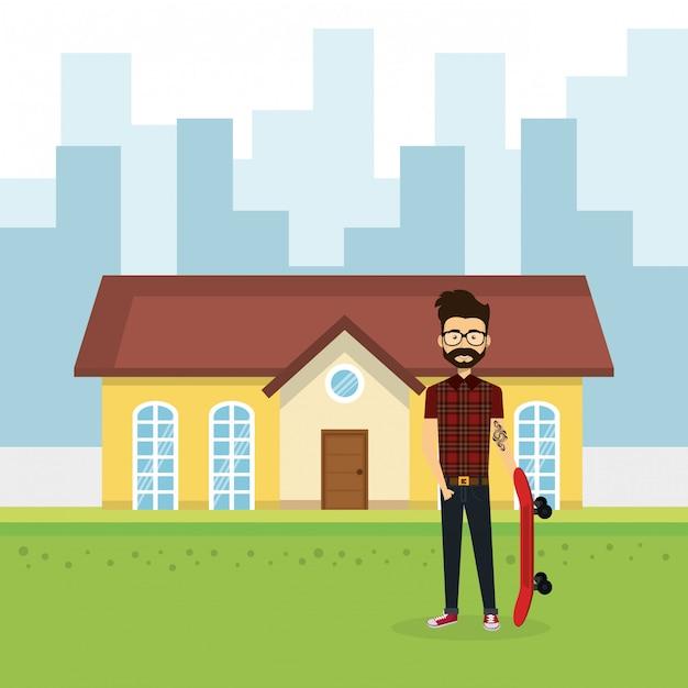 Illustratie van de jonge man buiten huis Gratis Vector