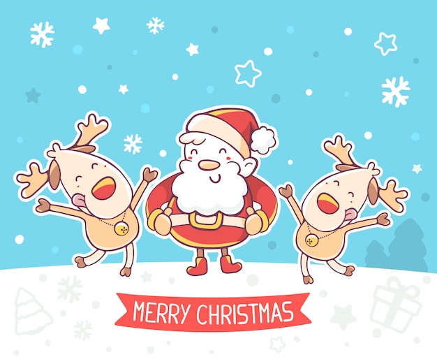 Illustratie van de kerstman en dansende rendieren met rood lint Premium Vector