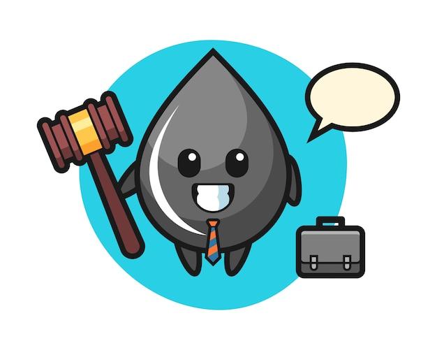 Illustratie van de mascotte van de oliedaling als advocaat Premium Vector
