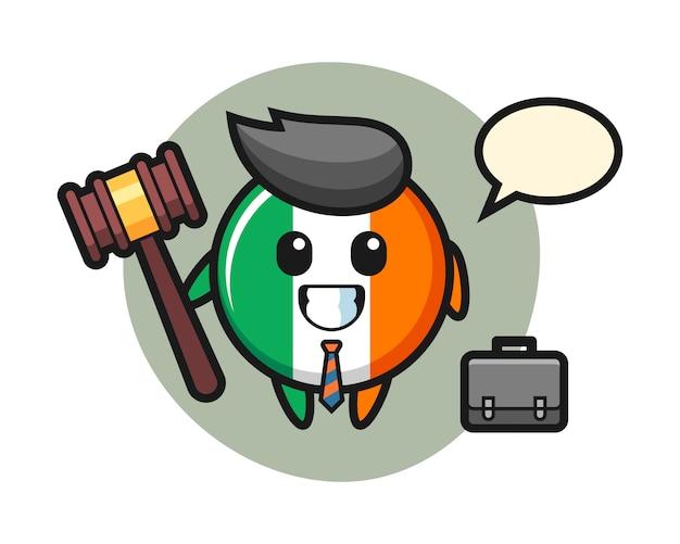 Illustratie van de mascotte van het de vlagkenteken van ierland als advocaat Premium Vector