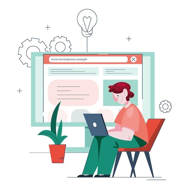 Illustratie van de mens die een website maakt. proces van het maken van een website, codering, programmeren, bouwen van interface en het maken van inhoud. man met een computer maakt een website. Premium Vector