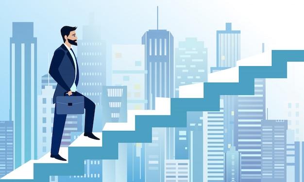 Illustratie van de mens stijgt in zakelijke stappen om te slagen op de achtergrond van de grote moderne stad. een zakenman is op weg naar succes op de trap. business concept illustratie in platte cartoon stijl Premium Vector