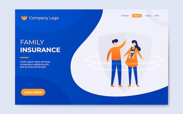 Illustratie van de moderne platte familie verzekering landing pagina Premium Vector